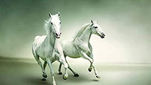 HJHJHJ Rompecabezas para Adultos 500 Pieza Dos Caballos Blancos Rompecabezas de Madera para Adultos 500 52x38cm