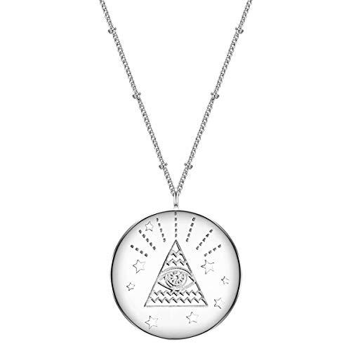 Glanzstücke München Damen-Kette mit Anhänger Allsehendes Auge Sterling Silber 50 + 5 cm - Modern-Kette mit rundem Anhänger Silber-Kette mit Symbol