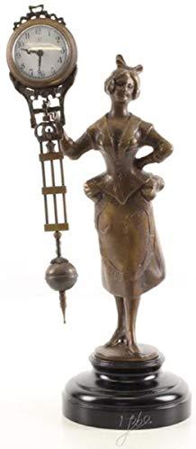 Casa Padrino Jugendstil Tischuhr Dame Bronze/Schwarz 15 x 11,7 x H. 33 cm - Bronzefigur mit Marmorsockel und Uhr - Schreibtischuhr