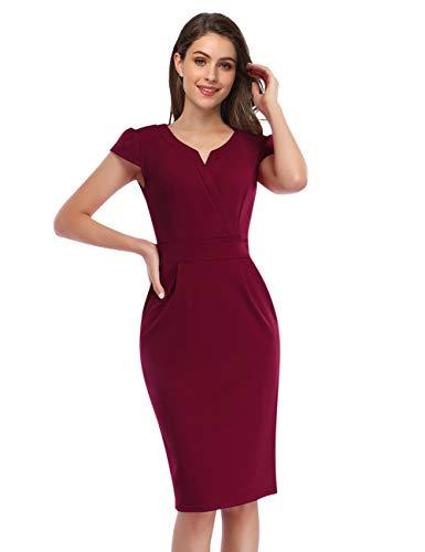KOJOOIN Damen Elegant Etuikleider Knielang Kurzarm Business Kleider Rot Bordeaux Weinrot L