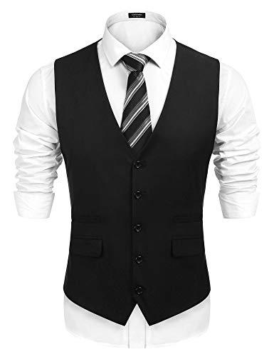 COOFANDY Men's Business Suit Vest,Slim Fit Formal Skinny Wedding Waistcoat,Black,Medium
