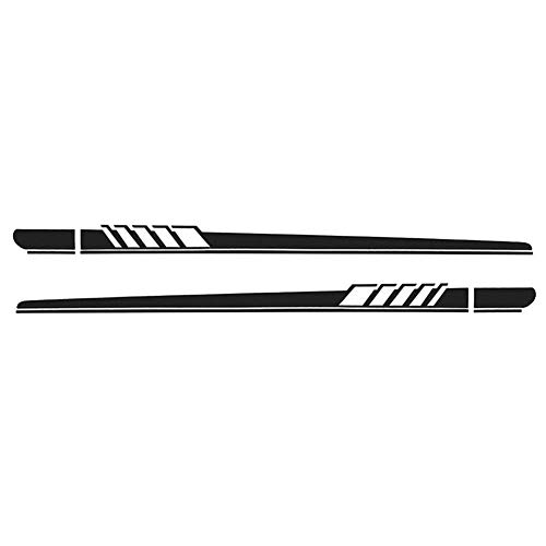 YOUNGFLY 2Pcs Car Side Body Vinyl Decal Sticker Racing Long Stripe Decals Graphics Self-adhesive Auto Decoration Black