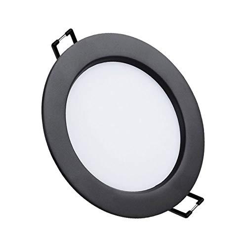 Luz de techo negro Diseño ultrafino 12W Empotrado de 5,5 pulgadas Downlight LED LED Lámparas de luz IP44 Corte 11-13cm Frío blanco 6000K para iluminación de oficina comercial