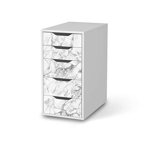 creatisto Möbel-Folie passend für IKEA Alex 5 Schubladen I Möbelfolie - Möbel-Tattoo Sticker Aufkleber I Deko Ideen Wohnung für Esszimmer und Wohnzimmer - Design: Marmor weiß