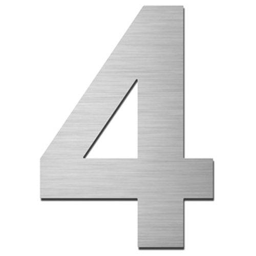 MOCAVI HS10 Hausnummer Edelstahl V4A selbstklebend Höhe 5,5-7,5 cm Edelstahl-Haustürnummer modern, Hausnummer:4