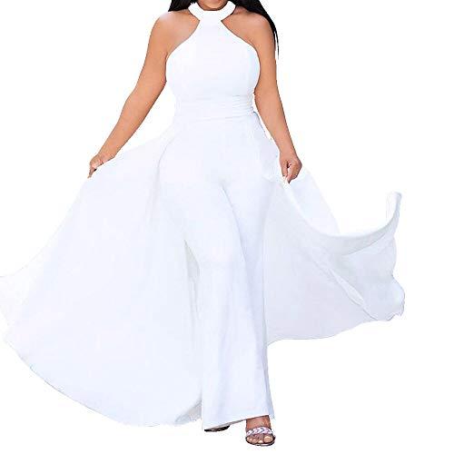 VERWIN Patchwork Overlay Embellished Plain Damen Jumpsuit High Waist Frau Romper Gr. XXX-Large, Weiß kalte Schulter