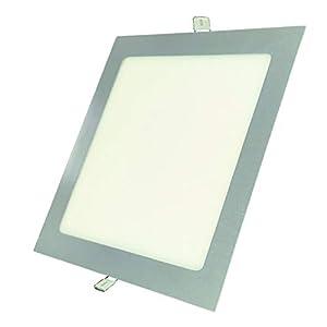 Pack 2x Panel LED Cuadrado Marco Plata 18W. Color Blanco Neutro (4500K). 1600 Lumenes. Downlight Empotrar. Driver incluido. A++
