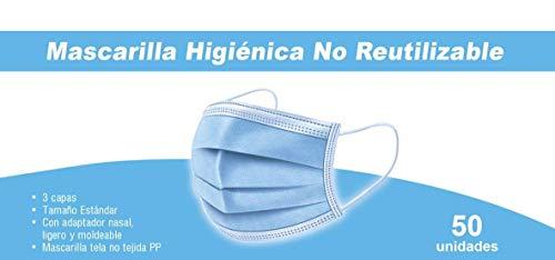 TBOC Einweg Hygienemaske - [Pack 50 Einheiten] Polypropylenmaske mit 3 Lagen Weiche Leichte und Atmungsaktive mit Nasenclip Gesicht Schutz Hohe Filtration Nicht Wiederverwendbar