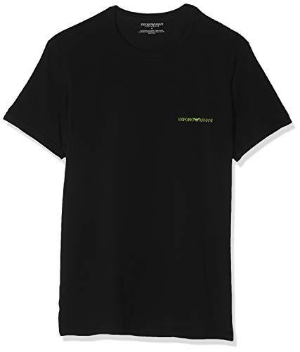 Emporio Armani Underwear Herren 2 Pack T Shirt Multipack Core Logoband Businesshemd, Schwarz (Nero/Nero 07320), Small (Herstellergröße:S) (2er Pack)