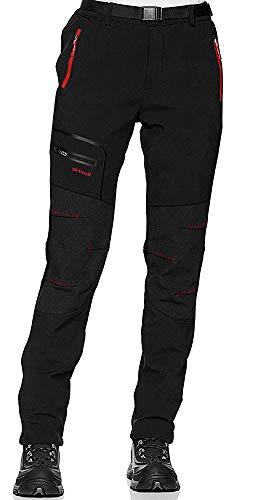shine future Damen Wanderhose Outdoorhose Wasserdicht Trekkinghose Winddicht funktional mit Gürtel Zip Off Funktionshose(Black, Medium)