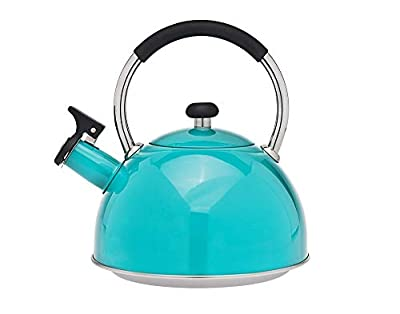 Tea Kettle - Stainless Steel Whistling Teapot - 2.5 Liters, Turquoise