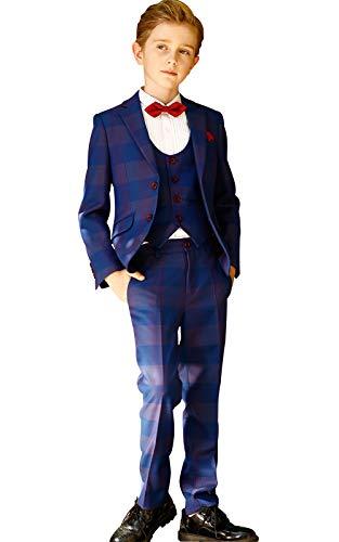 ELPA ELPA Boys Suits Children's Slim Fit Classic Plaid Suits Set (Royal Blue, 8)
