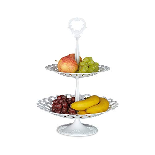Relaxdays Etagere Metall mit 2 Ebenen HBT: 44 x 31 x 31 cm Servierplatte aus Aluminium zweistöckig für Obst, Kekse und Knabberzeug Servierteller als Dessertteller oder Obstetagere, weiß