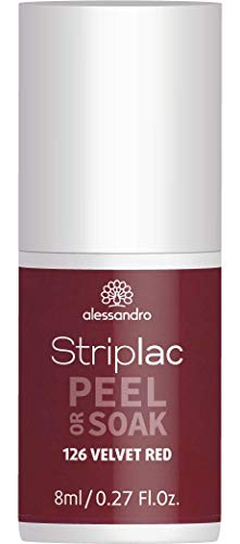 alessandro Striplac Peel or Soak Velvet Red – LED-Nagellack in dunklem, samtigen Rot – Für perfekte Nägel in 15 Minuten – 1 x 8ml