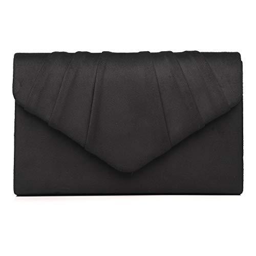 Labair Damen Abendhandtaschen Plissee Wildleder Abendtasche Samt Clutch Tasche Hochzeit Brautkleid börse, Schwarz (schwarz), Small