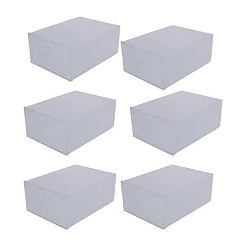 AYGANG Cajas para Zapatos 6pcs plástico Zapatos Caso Engrosado Caja de cajón Transparente Cajas de Zapatos de plástico Caja apilable Organizador de Zapatos (Color : Transparent, Size : 31X21.5CM)