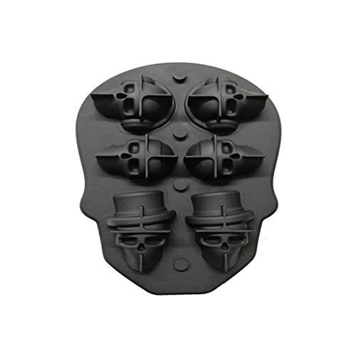 FFLJT Silicone hielo cubo bandeja 3d cráneo forma hielo cubo cubo fabricante para el whisky cóctel apilable flexible silicona hielo cubo cubo bandeja (Color : A)