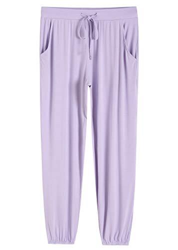 Latuza Women's Pajamas Pants Lounge Bottoms with Pockets 3X Purple