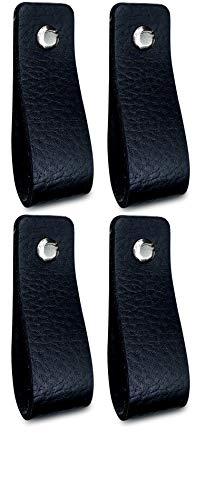 Brute Strength - Ledergriffe Möbel - Schwarz - 4 Stück - 16,5 x 2,5 cm - enthält 3 Schraubenfarben pro Ledergriff für Küchenschränke - Bad - Schränke