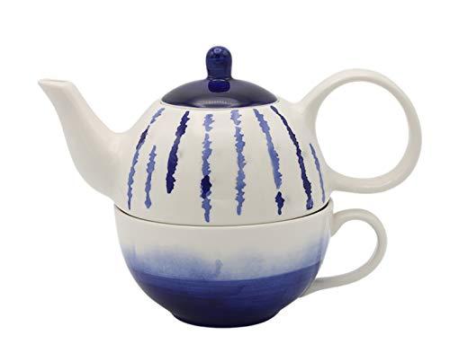 Indigo Dye Tea for one Set Teekanne und Tasse blau und weiß Teekanne
