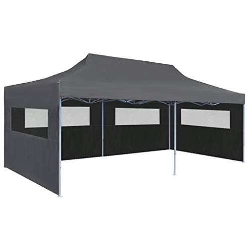 vidaXL Carpa Plegable Pop-up con Paredes Laterales 3x6 m Antracita Exterior