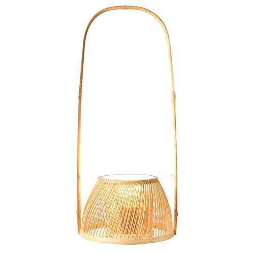 Tafellamp van natuurlijk bamboe, rotan, met lampenkap voor tafellamp, Aziatisch design, kunst, Chinese decoratie, meditatie, mini-nachtkastje