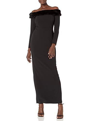 Calvin Klein Women's Long Sleeve Gown with Faux Fur Trim, Black, 6