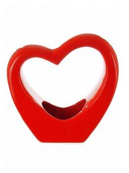Grand vase en porcelaine brillante en forme de cœur - Rouge, noir ou blanc - De qualité supérieure - Rouge