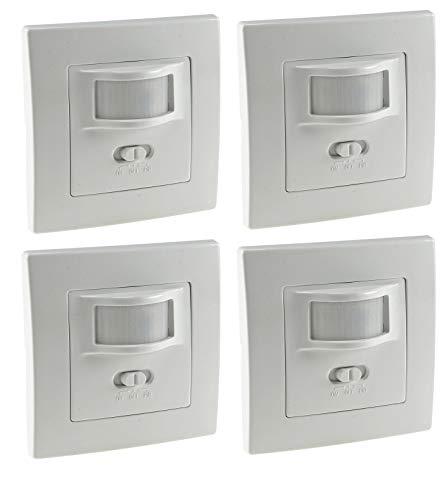 4 Stück Bewegungsmelder Sensor I Unterputz Einbau I LED geeignet I 9m Reichweite 2-Draht Technik IP20 I ersetzt einen Schalter Weiß