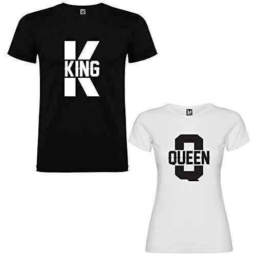 Pack de 2 Camisetas para Parejas King K y Queen Q (Mujer Tamaño M + Hombre Tamaño M)