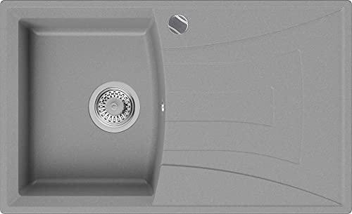 Fregadero de Cocina 77 x 47 cm, Fregadero Granito Un Seno + Sifón Automático, Fregadero Empotrado con Escurridor Valencia de Primagran, Gris