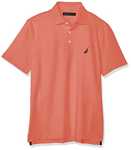 Nautica Men's Short Sleeve Solid Stretch Cotton Pique Polo Shirt, Pale Coral, Small