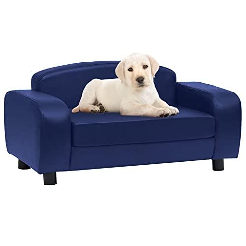 Sofá para Perros Cuero sintético Azul 80x50x40 cmProductos para Mascotas Productos para Mascotas Productos para Perros Camas para Perros