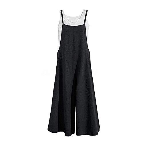DOTBUY Damen Latzhose Jumpsuits Playsuit Overall mit Taschen Sommer Casual Elegant Loose Baggy Leinen Lange Wide Leg Hosen (L,Schwarz)