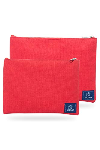 AQVA Pack of 2 Cotton Canvas Multipurpose Cosmetic Organizer Bag With Zipper - Water Resistant Travel Toiletry Pouch, DIY Craft Bag - Perfect for Stationary, Outdoor Activity (Large, Red)