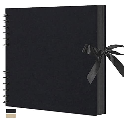 アルバム 手作り 誕生日 アルバムスクラップブック 黒台紙40枚80ページ a4 DIYスクラップブッキング 大容量 プレゼント 写真収納 結婚式のフォトブック(2021ブラック)