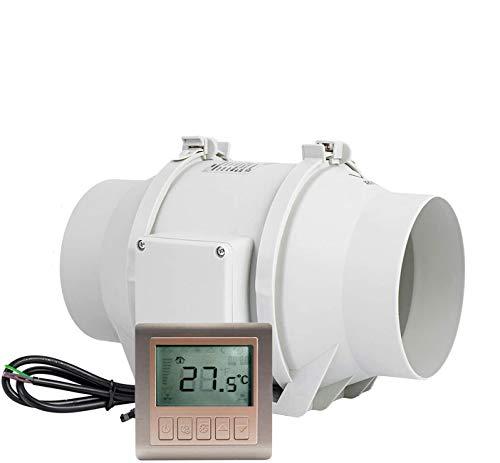 Ventilator 125mm HG POWER Einstellbarer Abluftventilator mit Drehzahlregler Einschaltverzögerung Temperatur Rohrventilator Leise Kanalventilator Badlüfter Rohrlüfter für Belüftung, Entfeuchtung
