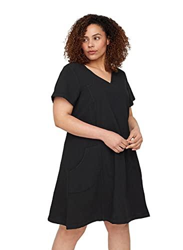 Zizzi Große Größen Damen Kurzarm Kleid aus Baumwolle Gr 46-48 Schwarz
