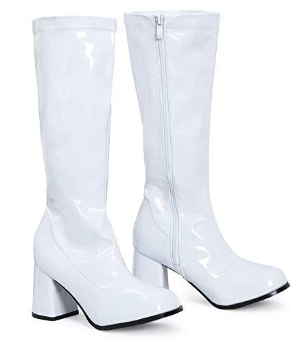 Shelikes Lackstiefel für Damen, schicker Partylook, im 1960er/1970er Retro-Stil glänzender Plateau-Stiefel, Größe 36-40, Weiß - weiße Lacklederoptik - Größe: 40 EU