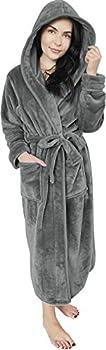 NY Threads Women Fleece Hooded Bathrobe - Plush Long Robe Large Steel Grey