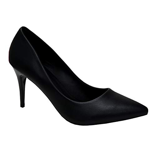 CucuFashion Nude Heels Smart Shoes Damen Hochzeit Heels Hot Pink Heels Low Heels Abendschuhe UK 36-42, Schwarz - Schwarz (Black Pu) - Größe: 37 EU