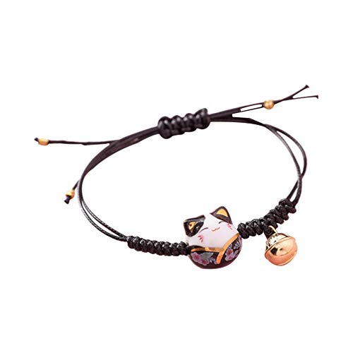 Holibanna pulsera trenzada amuleto pulsera ajustable con campana en forma de gato colgante a mano para amigos mujer hombre San Valentín regalo fiesta de la madre Negro M