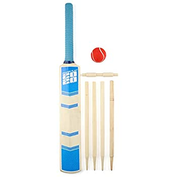 PowerPlay BG888 Deluxe Cricket Set with Cricket Bat Ball 4 Stumps Bails and Bag Size 3 Bat