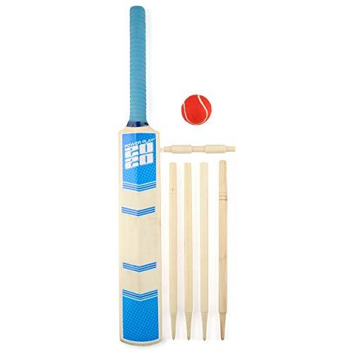Unbekannt PowerPlay BG888 Deluxe Cricket-Set mit Cricketschläger, Ball, 4 Stäbe, Bügel und Tasche, Größe 3 Schläger, blau, Size 3 Bat