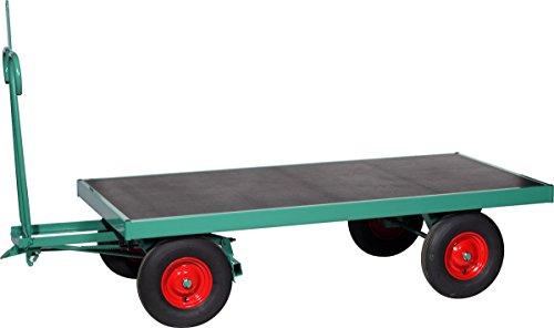 Schwarz Transportgeräte Handtransportgeräte, Handpritschenwagen ohne Bordwände Luftgummiräder 400 x 100 mm, ral 6000 patinagrün, 200 x 80 x 117 cm, 1015130
