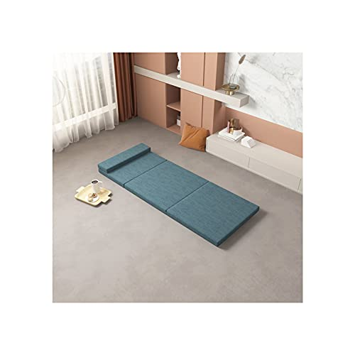 3 colchones plegables de espuma viscoelástica, sofá cama, sofá cama japonés, colchón de piso para apartamentos pequeños, oficina, camping, azul 120 x 200 cm