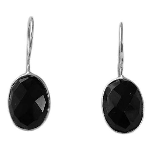 Bijoux et Objets - Pendientes ónix negro, plata maciza 925 - Tamaño de piedra 10x14mm