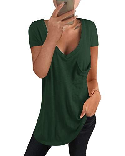 kenoce Camiseta Mujer de Manga Larga Blusa Cuello en V Casual Manga Corta Tshirt Sexy Color Sólido Elasticidad Pullover Blusas F-Verde Oscuro S