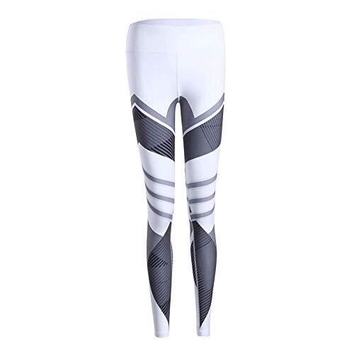 Yogabroek extra zachte legging met zakken voor dames,Hardlooptights, strakke legging met stretch en print, wit 2_S,Blouse met V-hals