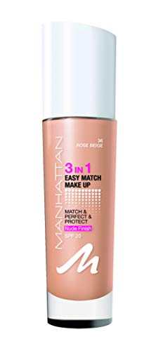 Manhattan 3in1 Easy Match Make-up, Flüssig Foundation für gebräunte Haut mit LSF 20, Farbe Rose Beige 36, 1 x 30ml